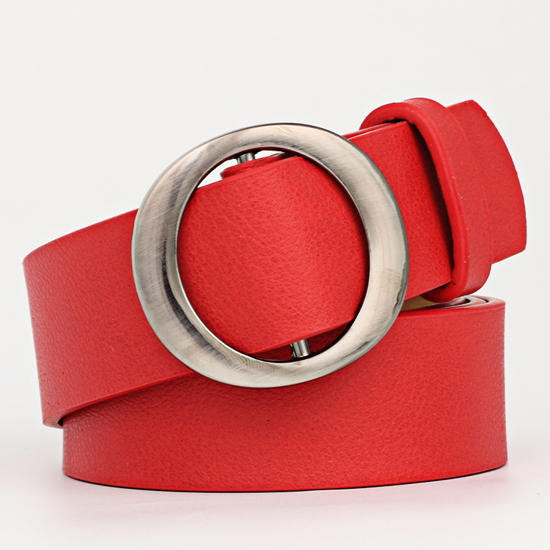 2020 New Designer Ladies Black Red White Brown Wide Leather Waist Belt Female Round Circle Buckle Belts For Women Jeans Cinturon