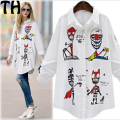 White Shirt blouse Women Long Sleeve Dresses Loose Casual graffiti blousees For Women Loose White Shirting women top MK031