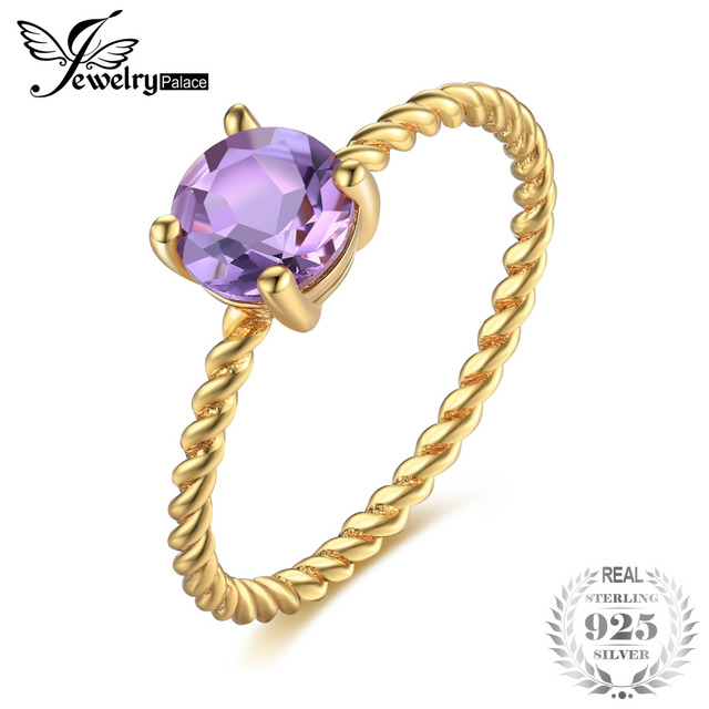 JewelryPalace Birthstone 0.78ct Round Natural Amethyst Wedding Ring For Women 92