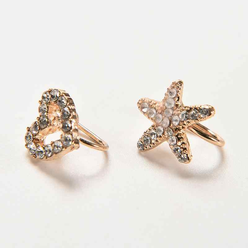1Pc חדש קריסטל כוכבים חרישת קליפ כוכב ים אוזן קאף שיק לב קליפ עגיל זהב Oorbellen Brincos ללא פירסינג
