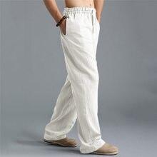 Новые мужские летние модные брюки льняной стиль Свободные Повседневные Дышащие уличные однотонные брюки спортивная одежда повседневные Прямые брюки#4R06