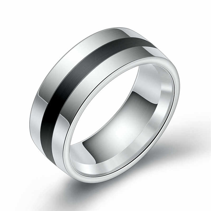 Yobest New Punk Finger Ring Stainless Steel Party Ring Enamel Stainless Steel Engagement Wedding Ring for Men Woman