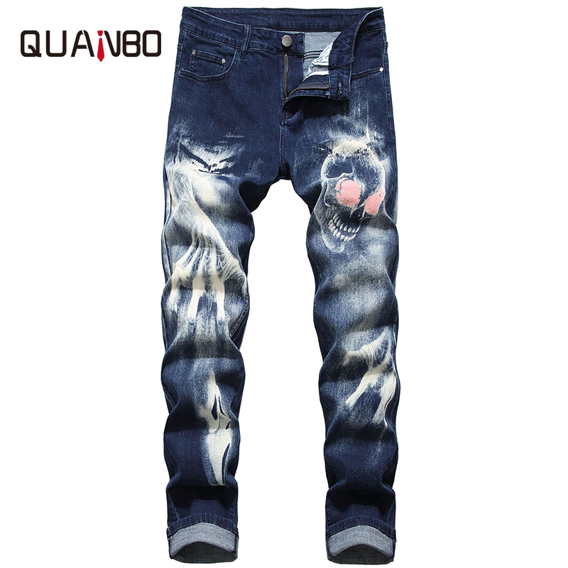 QUANBO New Spring And Autumn Quality Men's Jeans 3D Pattern Streetwear Fashion Stretch Men Jeans Gothic Black Denim Trousers 42