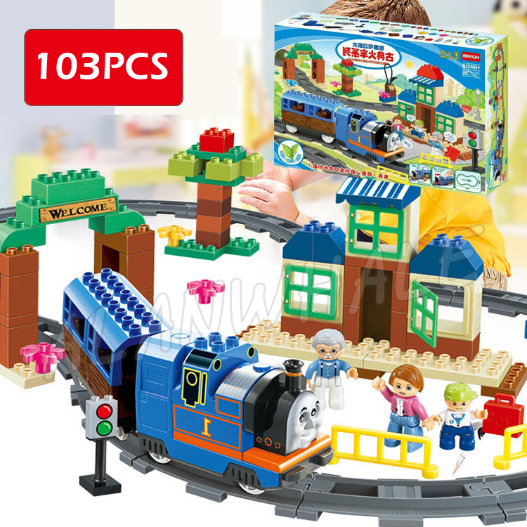 103pcs Town Trains Station Express Locomotive Tracks Cargo Model Building Blocks Bricks Kid Toy Fully Compatible With Lego Duplo 95pcs big size princess collection super busy market model building blocks bricks kid gift compatible with lego duplo