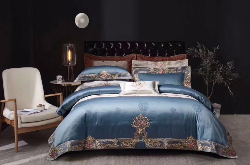 1000 TC Egyptian Cotton Home Bedding Collection Select Size Navy Blue Color