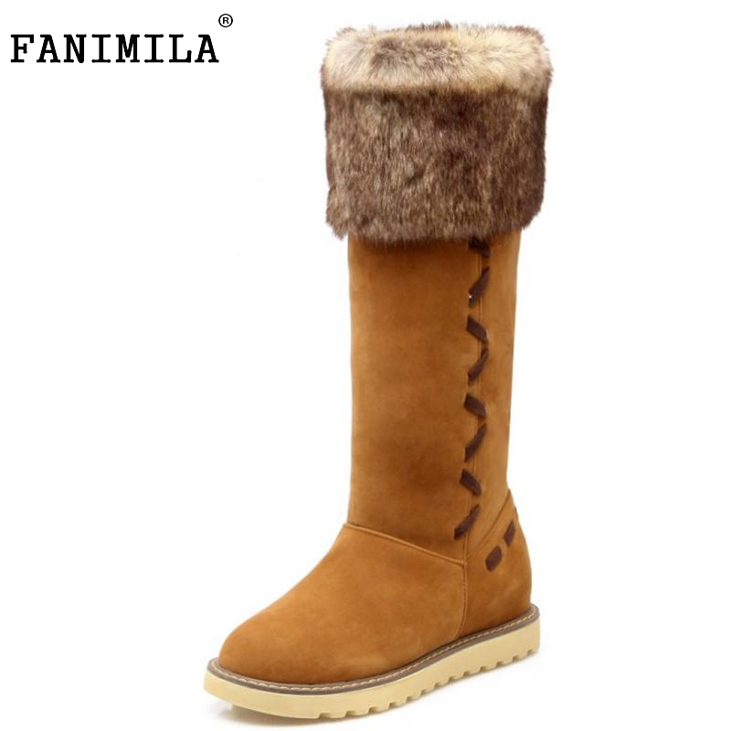 Russia Women Winter Warm Knee High Boots Fashion Woman Round Toe Long Plush Snow Boot Flat Shoes Woman Botas Mujer Size 34-43 women boot high quality russia warm thick fur snow boots round toe winter flat shoes woman keep warm knee botas size 34 39