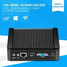 Дешевый XCY компьютер X30 Celeron N2830 Dual-Core 2.16 ГГц Мини Тонкий клиент ddr 2 г оперативной памяти 32 г SSD без вентилятора Поддержка Windows7 OS