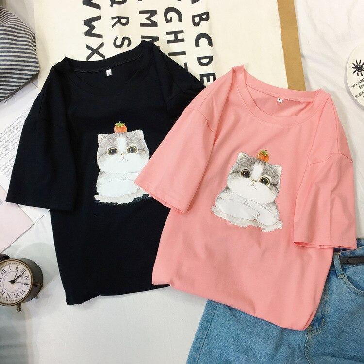 Women Summer Harajuku Funny Black Cat Prints Simple Casual Short Sleeve O-neck Girls Lovely T Shirt 2019 Female Cute Tees Tops