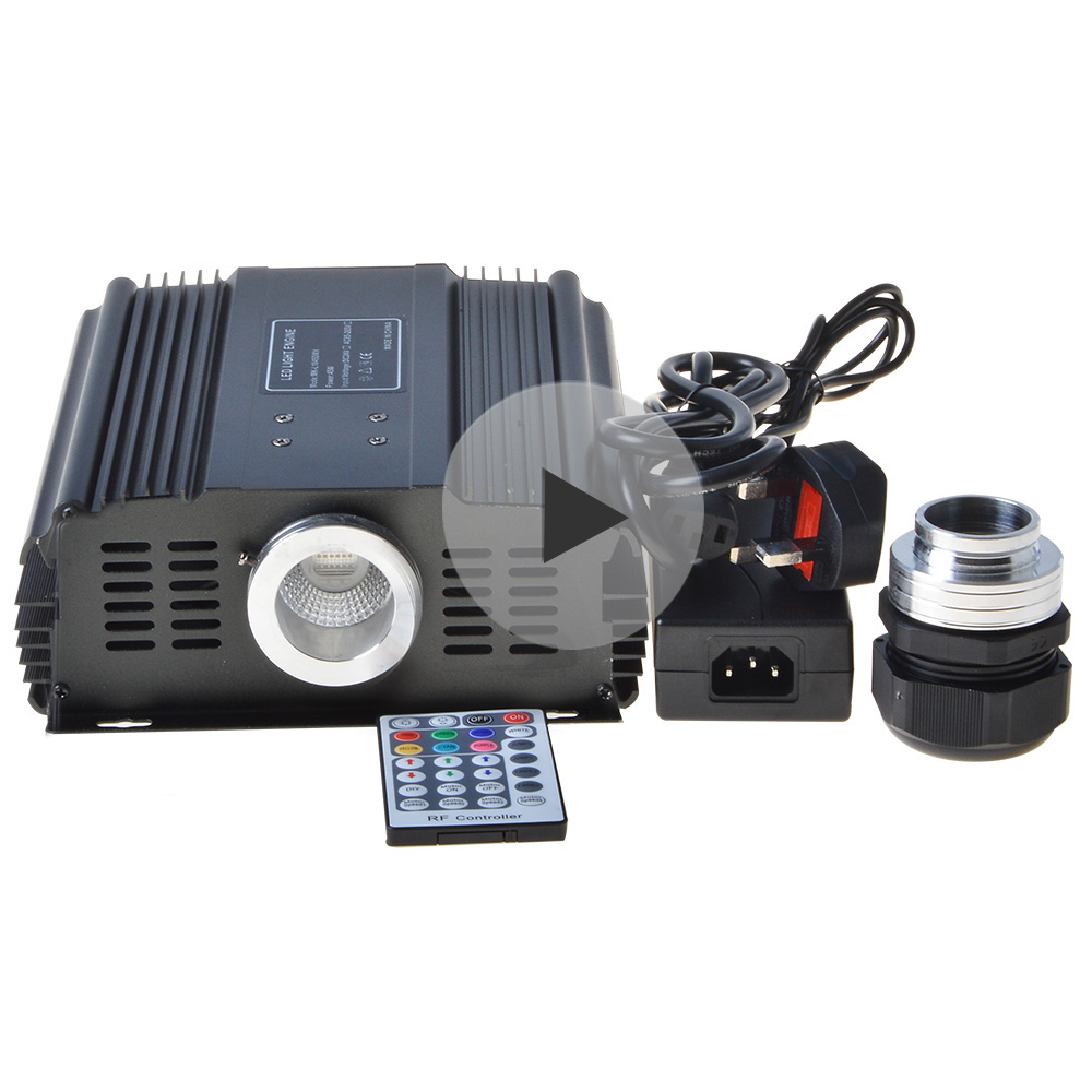 Maykit 60W RGBW DMX LED Fibre Optic Illuminator 24V DC Light Engine With RF Remote Control Power Supply External