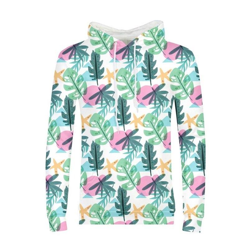 Brand Design Luckly Plam Tree Leafs 3D Printing Hoodies Men Fashion Luxury Comfortable Full Sleeves Sweatshirt  Pullover Hoodies