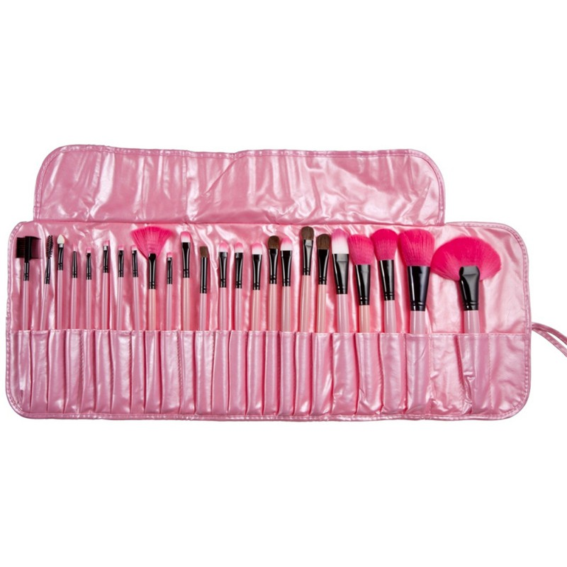 (24 Pcs/Set) Professional Makeup Brush Foundation Eye Shadows Lipsticks Powder Make Up Brushes Tools + PU Bag pincel maquiagem