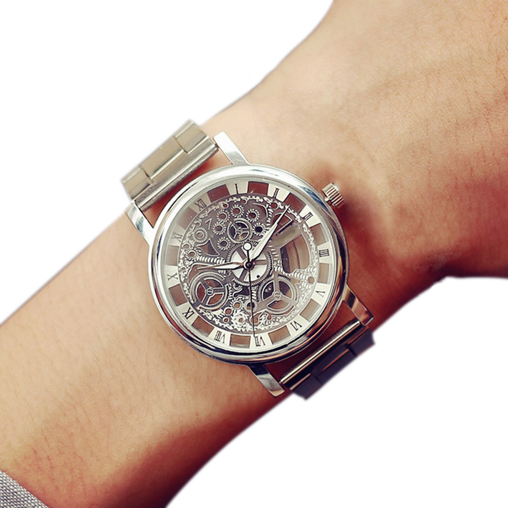 Fashion Men Wristwatch Solid Color Hollow Circular Dial Clock Quartz Watch Alloy Strap Personality Man Casual Watches LL