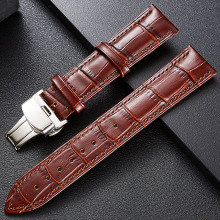 High-quality watchband head layer cowhide butterfly buckle watch with high-quality leather independent packaging