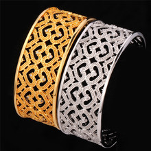 New Girls Bracelet Gold Plated Clear Cubic Zircon Crystal Heart Cuff Bangle For Women Wholesale With MGC H484