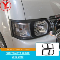 YCSUNZ For toyota hiace black headlight lamp cover ABS auto parts accessories For toyota hiace van 2016 2017 2018 accessories
