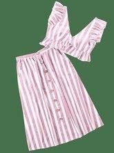 Two Piece Set Summer Women Sleeveless V Neck Crop Top Ruffle Button High Waist Skirts Striped Sets цена 2017