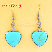 Heart Charm Natural Gem Stone Bead Dangle Earrings Accessories Silver Plated European Fashion Jewelry Women 1Pair