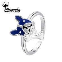 Chereda Korean Style Women Cute Dog Shap Ring Blue Animal Finger for Girl Wedding Jewelry Gifts