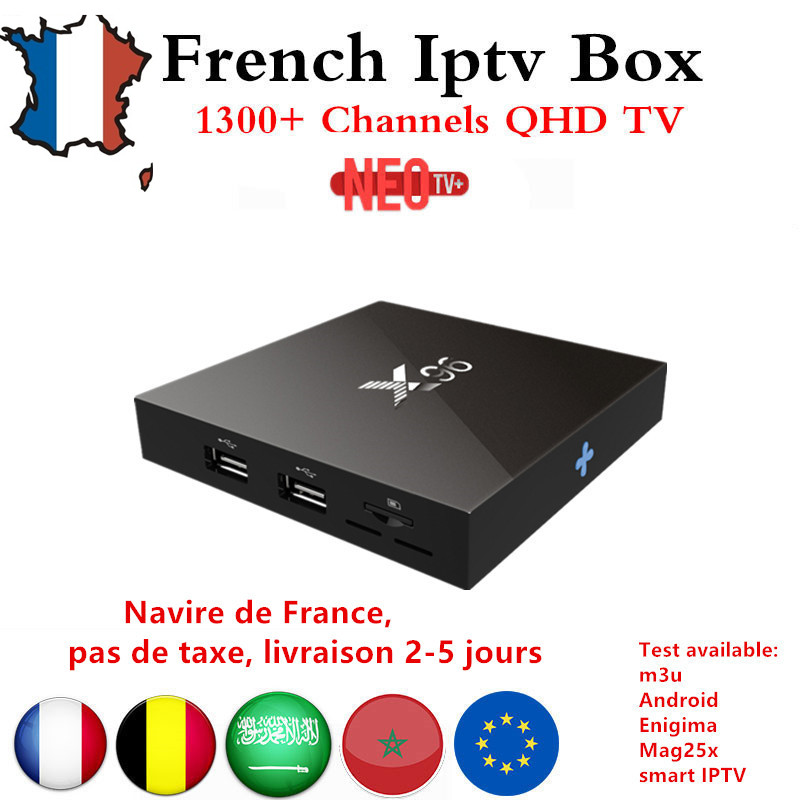 Best Arabic French IPTV box Benelux NEO+ IPTV code 1200+ LiveTV with X96 Android TV Box 6.0 4K Amlogic  Smart TV Box set top box benelux 1 500 000