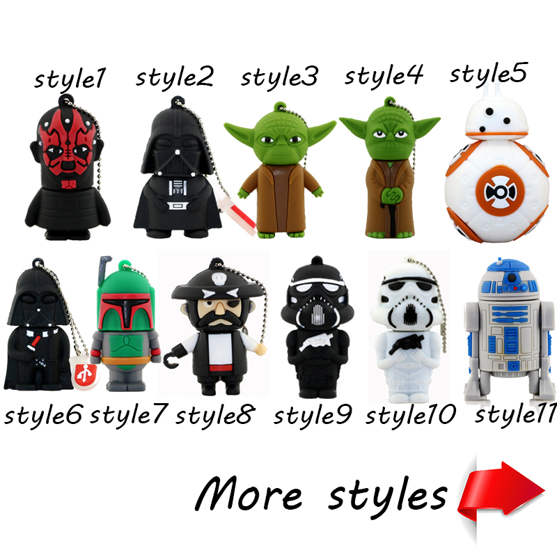 Cartoon USB Pen Drive Star Wars Darth Vader 32GB Usb Flash Drive Flash Memory Stick Storage BB8 Robot Pendrive U Disk Flash Card