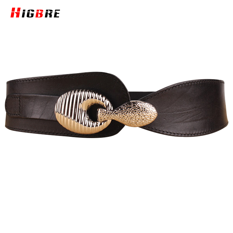 Fashion Cummerbunds Pure Leather Belt Woman Brown Red Charm Elastic Belts Women Vintage Waistband Belts Wide Waist Accessories