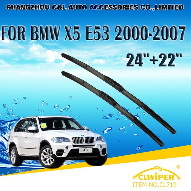 Wiper blades para bmw x5 e53 (2000-2007) 2001 2002 2003 2004 05 2006 Car Windscreen Windshield Wiper Blade 24 + 22 acessórios Carros