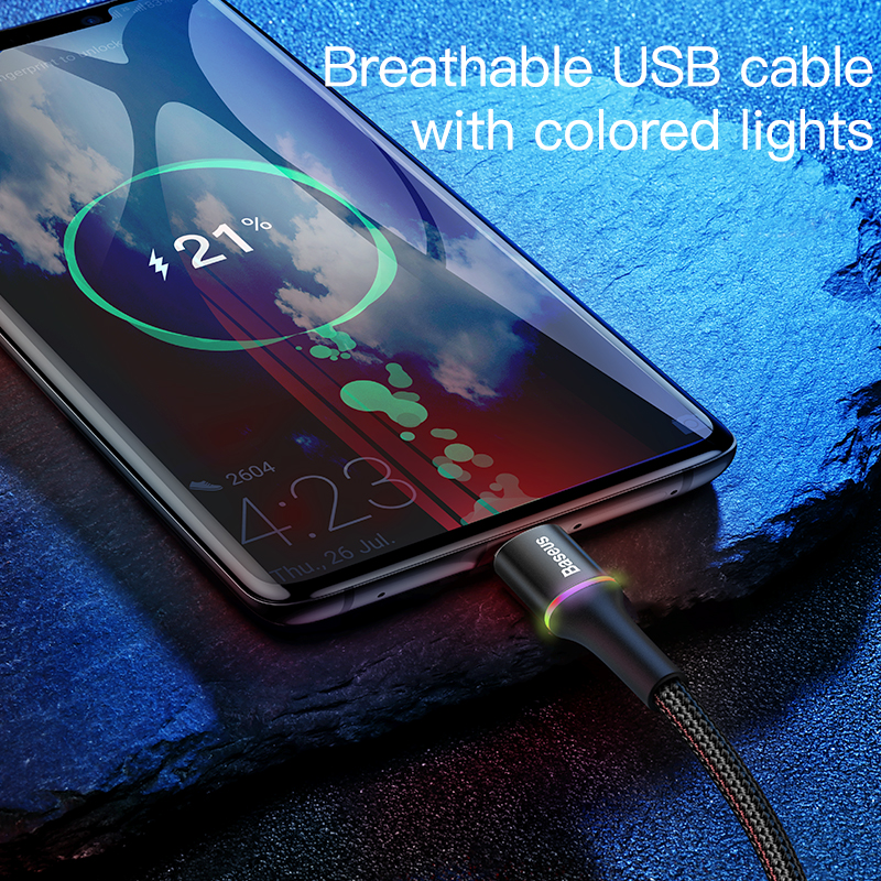 Baseus USB Type C Cable For Samsung S20 S10 Plus Xiaomi Fast Charging Wire Cord USB