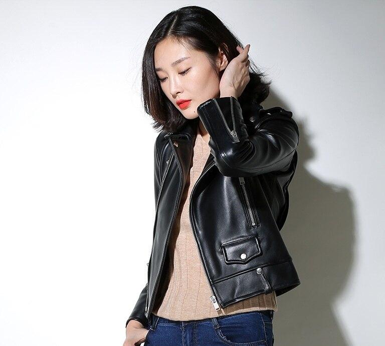 Livraison gratuite, Véritable en cuir femme vestes cintrées. mode motorbiker taille asie femelle veste en peau de mouton, grande taille manteau en cuir - 2