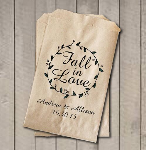 Us 15 56 18 Off Custom Fall In Love Wedding Popcorn Candy Buffet Treat Gift Bar Bags Birthday Bridal Shower Bakery Cookie Favors Packets