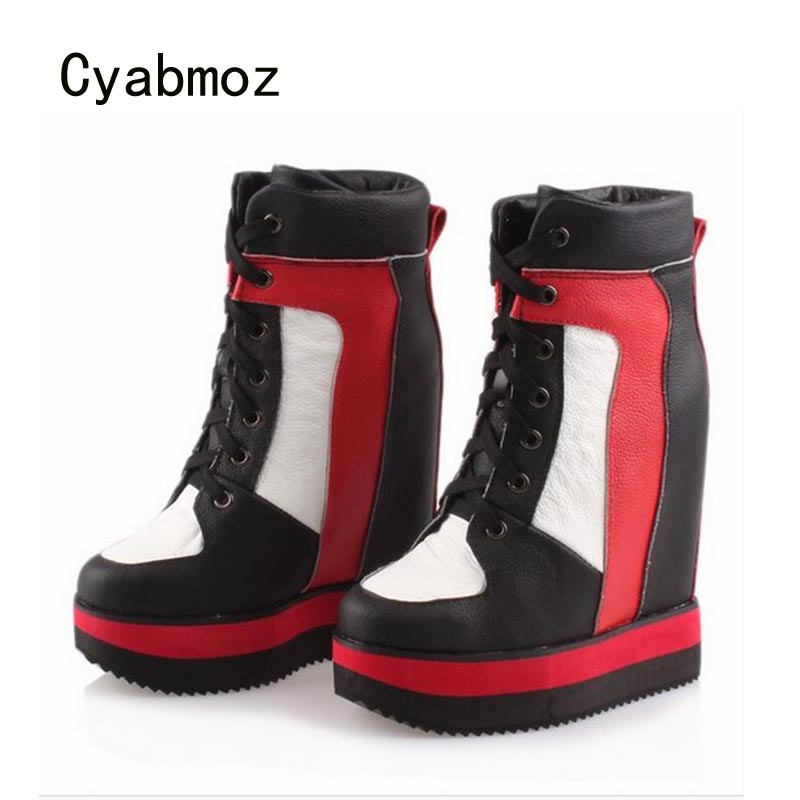Cyabmoz Genuine Leather Wedges Platform High heels Thick Bottom Women Shoes Woman Height Increasing Zapatos Mujer Tenis Feminino cyabmoz zapatos mujer tenis feminino platform shoes woman lace up thick bottom women casual party ladies valentine single shoes