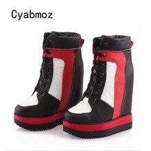 Cyabmoz Genuína Cunhas de Couro Plataforma Mulheres Sapatos de salto Alto Grosso Fundo Altura Mulher Aumentando Zapatos Mujer Tenis Feminino