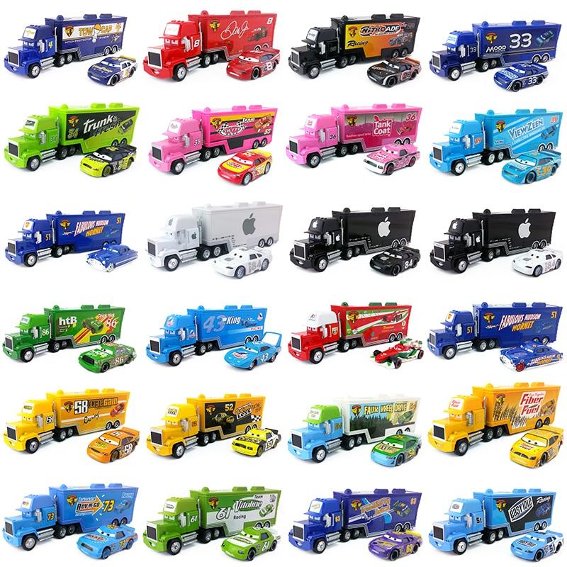 Disney pixar carros 21 estilos mack truck + carro pequeno mcqueen o rei 1:55 diecast liga de metal e brinquedos de plástico carro para o presente do miúdo
