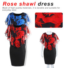 Rose Valentine Overlay Slimmer Dress Floral Cloak Sleeve Summer Dress Bandage Women Pencil Dress Big Plus Size plus size lace panel overlay dress