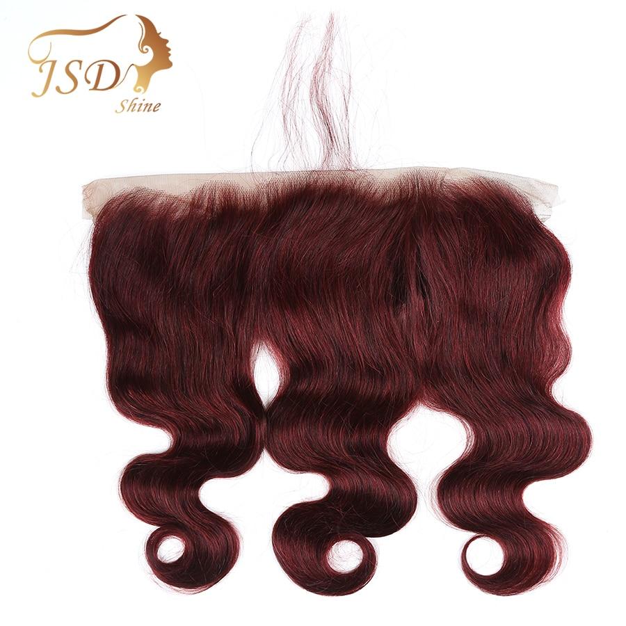 JSDShine 99j Indian Body Wave 13*4 cierre frontal de malla con pelo de bebé 100% pelo humano no Remy Borgoña 13x4 Cierre de encaje