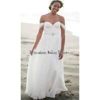 Simple Boho Beach Wedding Dresses Casual Long Chiffon Open Back Romantic Bridal Summer Wedding Gowns Robe