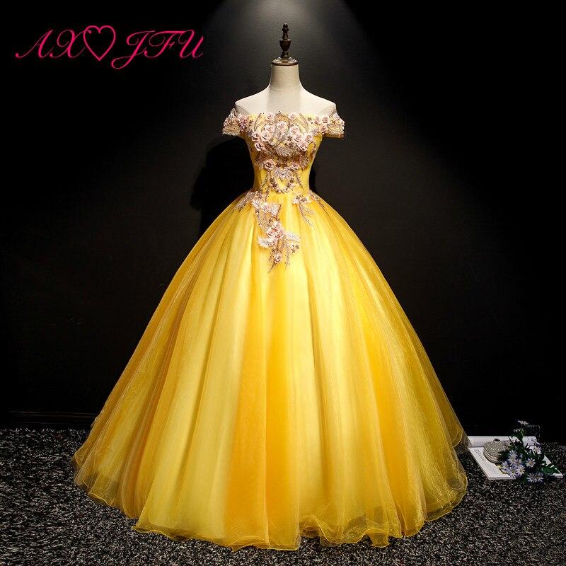 AXJFU flower princess golden lace evening dress luxury vintage beading pink flower boat neck stage rose
