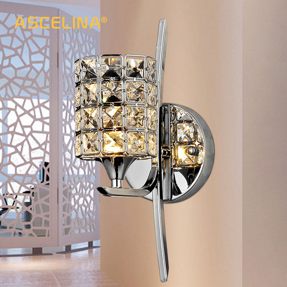 Us 26 76 40 offmodern crystal wall lamp sconce k9 e27 bed room stairs aisle chandelier wall light fixture shade for home decor luminaire in led
