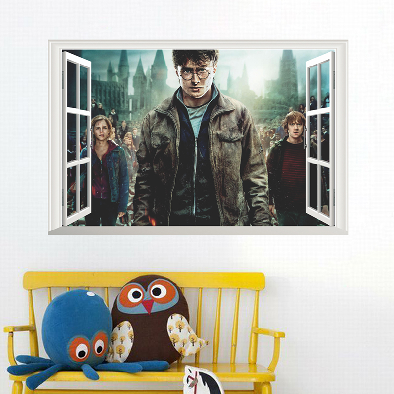 3D Windows Retro Poster Harry Potter Decorative Wall Stickers Magic World Vintage Decor Home Decoration Painting Movie PVC Decal