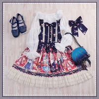 Free Time limited Real Shipping 2019 Qiu Dong Original Showa Rabbit Shoulder straps Lolita Dress Is Japanese Women's Clothing