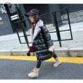 2016 nuevo invierno abrigo de piel abrigo de niña grande de Europa y Americano de piel de cuero de LA PU de algodón gruesa chaqueta acolchada envío libre gratis