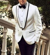 MS29 New Custom Made White Jacket Black Pants Traje De Hombre Casual Slim Groom Tuxedos Groomsmen Man Suit Wedding Suits