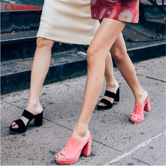 5728e41175c Fashion Chunky High Heel Runway Mules Sandals Pink Red Black Woman Sexy Open  Toe Suede Party Dress Sandals Slide Shoes Women