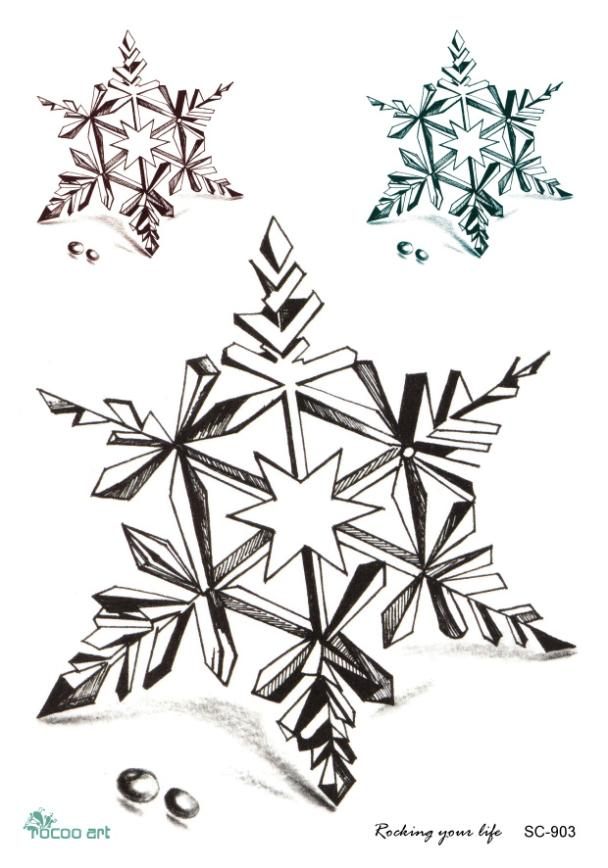 Sc2903 Large 3d Pencil Sketch Snowflakes Designs Cool Chest Back Shoulder Temporary Tattoo Stickers Fake Tatoos