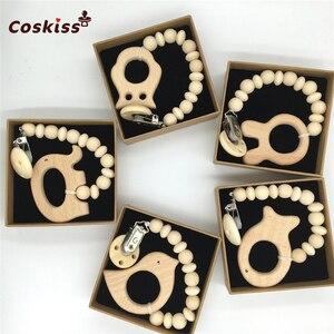 Image 5 - DIY zestaw do pielęgnacji biżuterii zestaw do mieszania naturalnych okrągłych geometrii sześciokątne drewniane koraliki zestaw gryzaki dla niemowląt