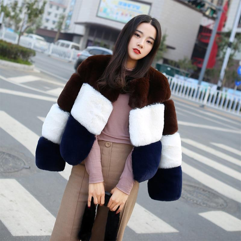 Manteau Fourrure 3 Fursarcar Outwear Couleur Luxe Chaud Manches 2018 Mince D'hiver Femmes Plein Veste Épais Réel De Rex Lapin Y881n