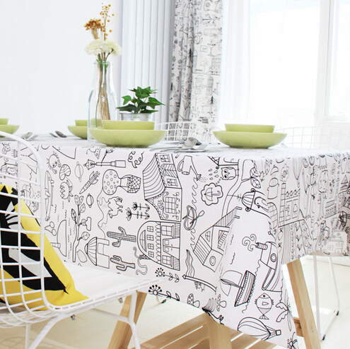 Ordinaire Northern Europe Toalha De Mesa Retangular Black And White Cartoon Sketch  Dining Table Cloth Trendy Home