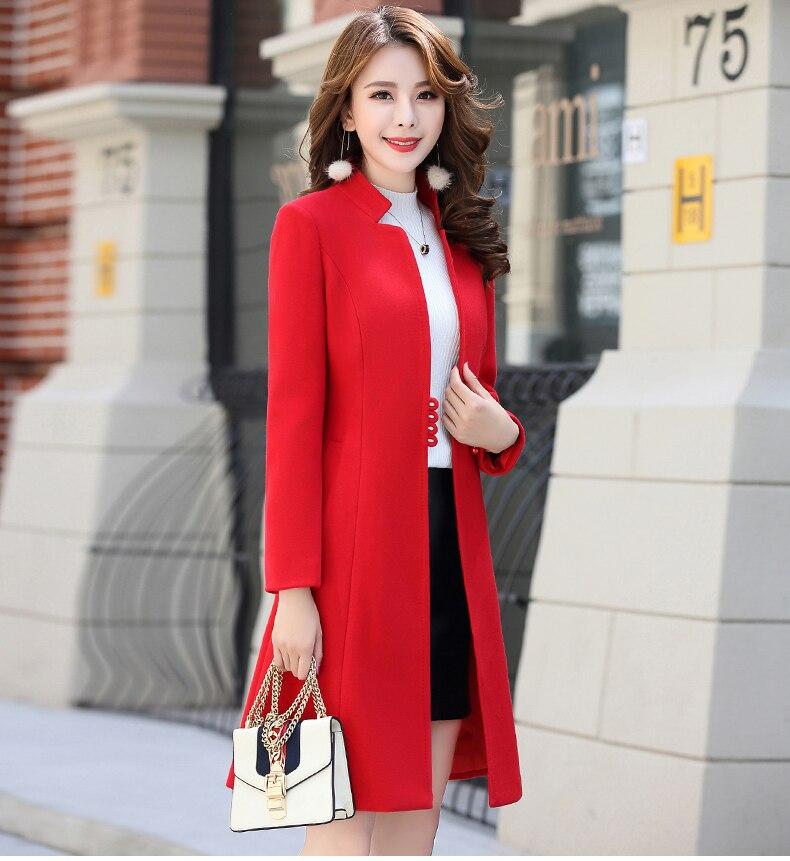 Outerwear Overcoat Autumn Jacket Casual Women New Fashion Long Woolen Coat Single Breasted Slim Type Female Winter Wool Coats 20