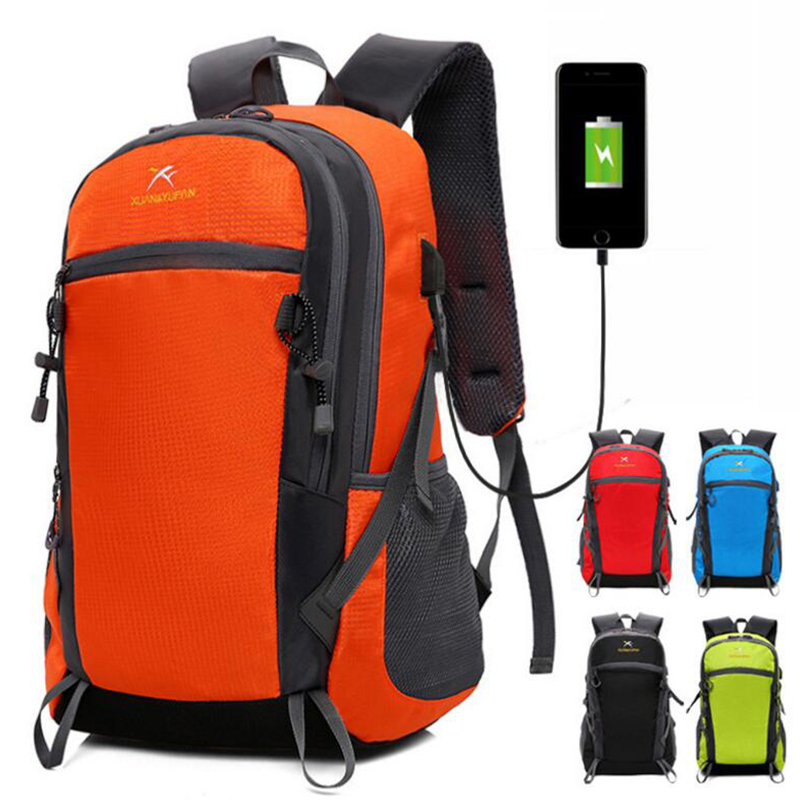 Casual Men Women Nylon Large Capacity Travel Backpack 15 Inch Laptop USB Charging Female Backpack School Bag Red/black