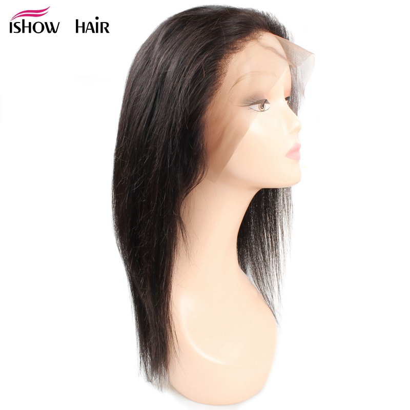 Ishow 130% Density 360 Lace Frontal Wig Pre Plucked With Baby Hair Peruvian Straight Lace Front Human Hair Wigs Non Remy Hair