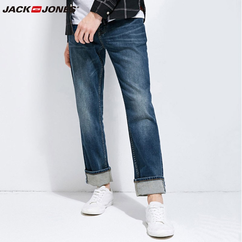 JackJones 2018 di Marca dei Nuovi Uomini di Lycra e Cotone Oversize Loose Fit Allungano I Jeans Dei Pantaloni Del Denim Dei Pantaloni degli uomini Biker di modo 218132571